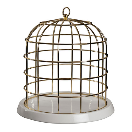 Twitable Gold Birdcage with Porcelain Base